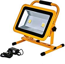 100W LED Work Light 10000LM, COB * 2 Portable Rechargeable Construction Site Lights IP65 Waterproof Outdoor FloodLight Wor...