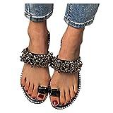 Teshalay Sandals for Women Rhinestones Flat Flip Flops Open Toe Crystal Sandals Casual Summer Beach Womens Sandals Slippers Black