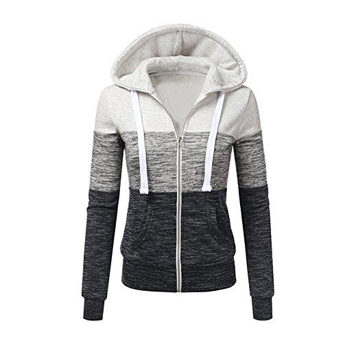 Newbestyle Jacke Damen Sweatjacke Hoodie Sweatshirt Kapuzenpullover Pullover Patchwork Pulli mit Kordel und Zip Weiß Large