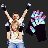 3 Pair LED Gloves for Kids 5 Colors 6 Modes LED Finger Glow In The Dark Party Supplies Xmas Costume Light Up Gloves Novelty Light Up Toys Gift for Boys Girls Christmas Stocking Stuffer Halloween