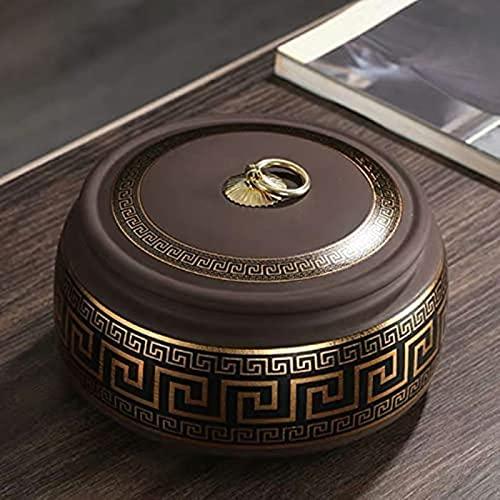 WHXL Viola Argilla tè Caddy Ceramica sigillata pentola Nero tè Nero tè Verde pu'er tè Caddy Serbatoio di stoccaggio della Famiglia (Colore: Giallo)