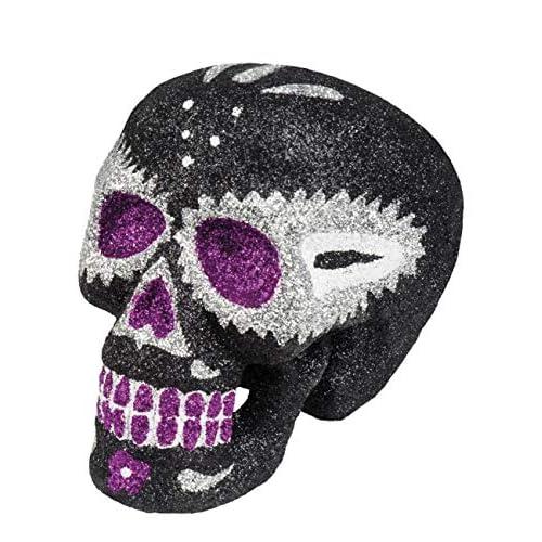 Boland- Decorazione Teschio Glitter Sugar Skull, Nero, 72059