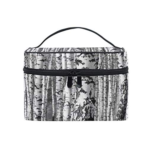 Makeup Bag, Winter Forest Tree Portable Travel Case Large Print Cosmetic Bag Organizer Compartments for Girls Women Lady