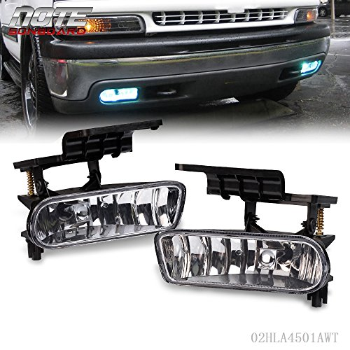 Replacement For Chevy 1999-2002 Silverado 1500 2500/2001-2002 Silverado 3500/2000-2006 Suburban Tahoe Driver Passenger Side Clear Bumper Fog Light Halogen Lamps Replacement With Bulbs