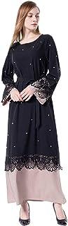 cutemom Muslim Women Dress Long Sleeve fashion retro Lace-up lace stitching beaded loose Kaftan Dresses Traditional Women Abaya Dubai Islamic Robe Clothes
