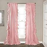 Be&xn Elegante Volant schiebegardinen,Vintage Schick Stil Vorhänge Blackout Vorhang Für mädchenzimmer Wohnzimmer, 1panel-Rosa W150xH240cm(59x94inch)