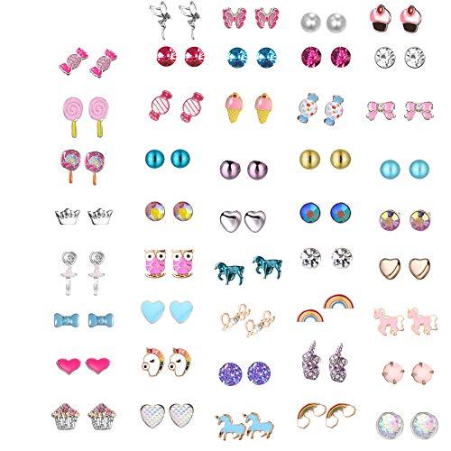 GOTONE 44 coppie Acciaio inossidabile Orecchini per ragazze Donna Candy Fiore Torta Animali Cuore Gelato Colorato Carino Sgocciolatura d'olio Orecchini a bottone