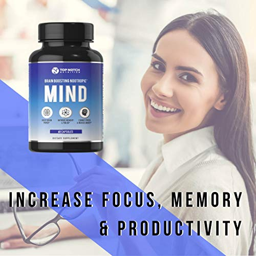 Top Notch Nutrition Nootropic Brain Supplement Featuring a B Complex L Theanine Bacopa and Alpha GPC Experience Anxiety Relief Improved Memory Mental Clarity and Focus No Caffeine Energy Pills - 60