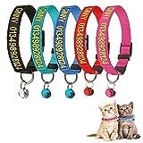 Brillianne Collare Personalizzato per Gatti Breakaway Personalizzato con Campana, Fibbia a Scatto di Sicurezza, Nome identificativo Ricamato sul Colletto per Gattini