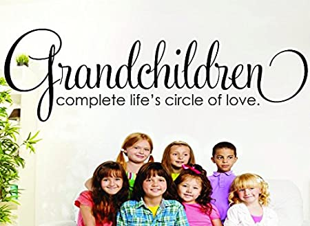 Design with Vinyl RAD 631 2 Grandchildren Complete Lifes Circle of Love Family Grandmother Grandfather Grandma Grandpa Quote Vinyl Wall Decal Black 14 x 28