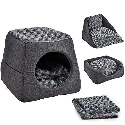ICONIC Katzenbett für Katzen/Kätzchen/kleine Hunde | 3-in-1 Haustierbett/Höhlenbett mit abnehmbarem Kissen und Decke | Faltbares Indoor Outdoor Iglubett (40x40x35cm) | Grau