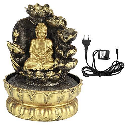 Fdit Estatua de Buda de Resina innovadora, Fuente de Agua Que Fluye, Adorno de Mesa con Luces LED para decoración de Oficina en casa(1#)