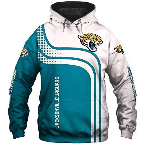 LIULL Herren Hoodie Pullover NFL Jaguars Jacke 3D Digital Printing Baseball Uniform Sport Sweatshirt A-XXXXXL