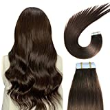 SUYYA Tape in Hair Extensions Human Hair 100% Remy Human Hair 20pcs 50g/pack Straight Seamless Skin Weft Glue in Hair Extensions(20Inch #2 Darkest Brown)