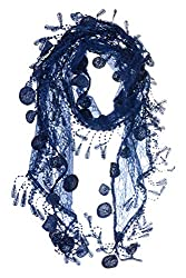 S3129 Navy Leafy Lace Scarf With Tassels