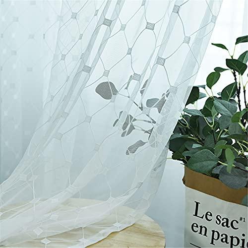 FACWAWF Inicio Pantalla De Ventana Geométrica Simple Parrilla Cortina De Pantalla Blanca De Diamante Sala De Estar Dormitorio Cortina Semi-Opaca 300x270cm(2pcs)