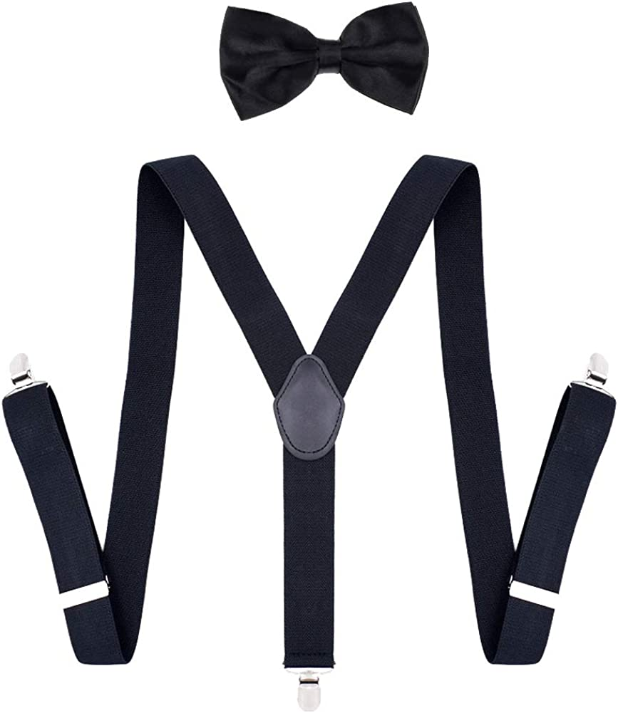 UUYYEO Elastic Adjustable Y Shape Trouser Braces Suspenders with Strong Clips Matching Bow Tie Set for Men Women