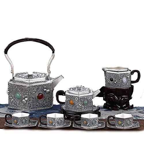 LWSJP Teiere Pure Silver 999 Wufu Tea Set Servizio da tè in Argento Sterling teiera Coppa Fair bollitore Cinese Gift...