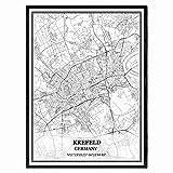 Krefeld Deutschland Karte Wandkunst Leinwand drucken Poster