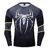 COJETER Negro Spider Camisetas para Hombres Fitness Sports Compresi¨®n Pullover Camisetas de Manga Larga para Adultos Superh¨¦roes