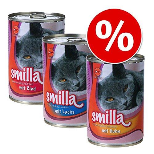Smilla Mixed Saver Pack 60x 400g Huhn, Lachs & Rind. Eine Gesunde ausgewogen Katzenfutter