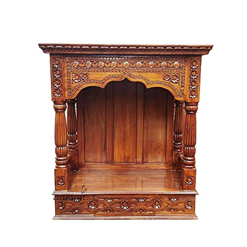 Maa Chandi Wooden Temple Pooja Mandir with Drawer/Wooden Temple/Home Temple/Pooja Mandir/Temple for Home/Office Temple/Navratre/Diwali Festive Season Gifts and puja