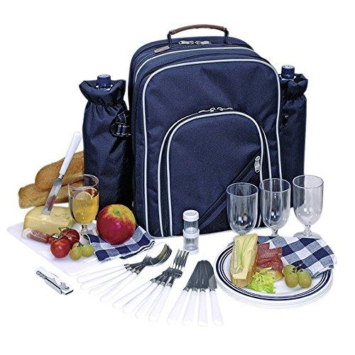 Tops Picknickrucksack Picknicktasche mit Inhalt für 4 Personen mit integrierter Kühltasche Blau