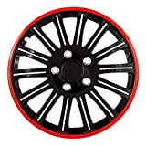 Pilot Universal Fit Cobra Black and Chrome with Red Trim 16 Inch Wheel Covers - Set of 4 (WH527-16RE-BX)