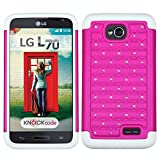 FOR LG OPTIMUS EXCEED 2 / L70 / D325 HYBRID STUDDED DIAMOND CASE - WHITE +HOT PINK