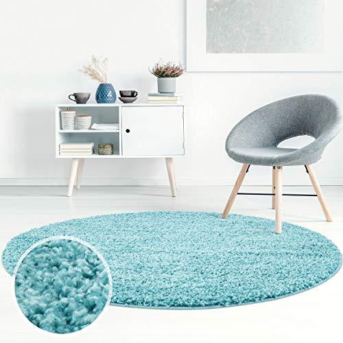 ayshaggy Shaggy Teppich Hochflor Langflor Einfarbig Uni Türkis Weich Flauschig Wohnzimmer, Größe: 200 x 200 cm Rund