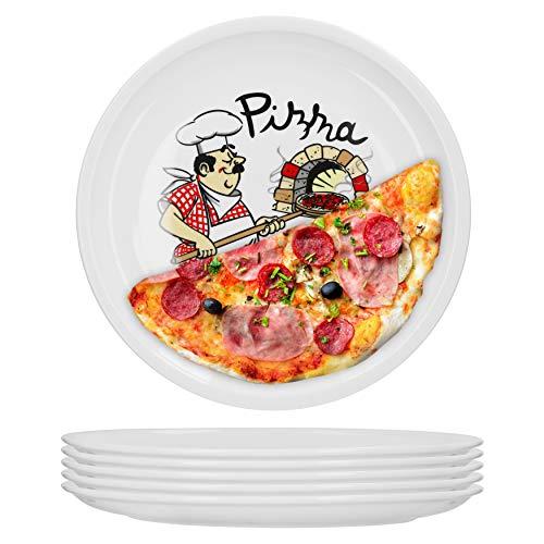 Set de 6 grandes assiettes à pizza Ø 29,5 cm avec motif du chef Accessoires gastro Plats en porcelaine stables pour la boulangerie-pâtisserie Plaque à griller Assiette de service Antipasti