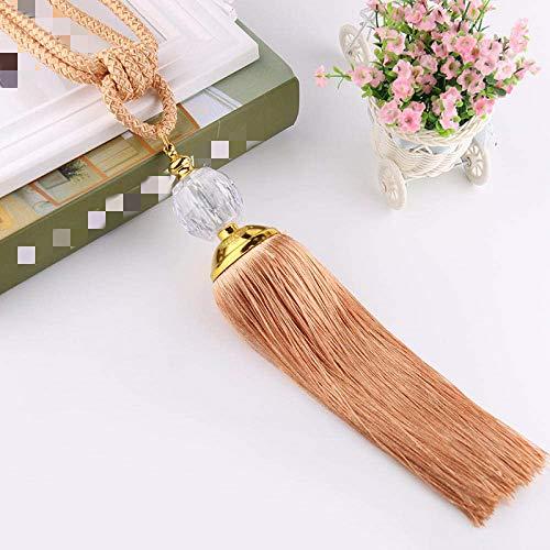 1Pair Tassel Curtains Tieback Curtain Rope ,Decorative Draperies Holdbacks ,Curtain and Blind Accessories -rice wine