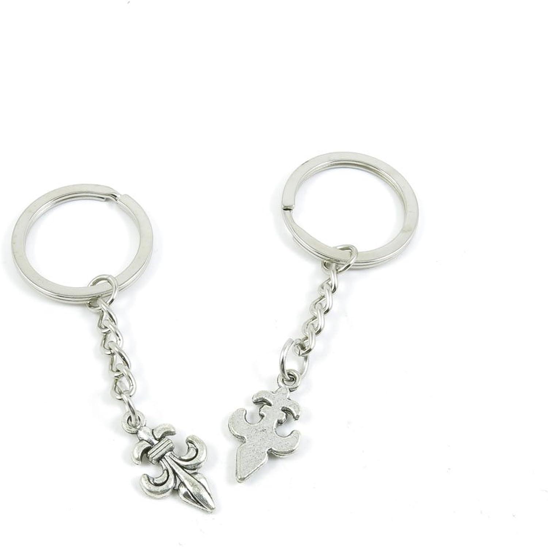 200 Pieces Fashion Jewelry Keyring Keychain Door Car Key Tag Ring Chain Supplier Supply Wholesale Bulk Lots E1KE4 Fleur De Lis Iris Lily