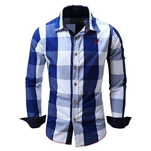 BicRad Herren Kariertes Hemd Langarm Oktoberfest Bügelfrei Freizeithemd Baumwolle Slim Fit (Blau-099, XL)
