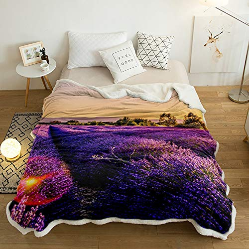 Yun Nist Sherpa Fleece Throw Blanket Purple Lavender Field and Trees Super Soft Reversible Blankets, Wram Cozy Throws for Sofa Couch Bed Sunset Landscape 50x80in