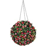 Aida Bz Bola de Hierba Artificial Esfera de Topiario Rojo Efecto de Hoja, 10pcs Bola de Rosa Bola de Flor Colgante Decorativa Decoración de la Boda,31cm
