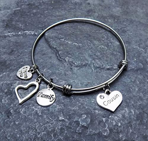 Cousin Charm Bracelet Family Gift Stainless...