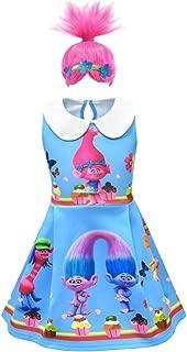 Girls Poppy Dress Wig Set for Halloween Christmas Party Cartoon Cosplay Costume