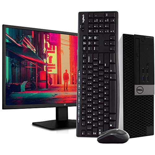 Dell 5040 Small Form PC Desktop Computer - Intel i5-6500, 16GB RAM, 2TB HDD, Windows 10 Pro, New 23.6' FHD V7 LED Monitor, New 16GB Flash Drive, Wireless Keyboard & Mouse, DVD, HDMI, WiFi (Renewed)