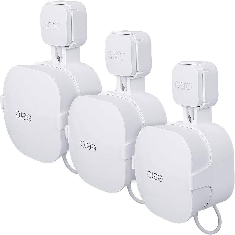 Outlet Wall Mount Holder Only for eero mesh WiFi System(15W Adapter) - eero Wall Mount Bracket by Koroao - Easy Installation and No Cord Clutter(3Pack)