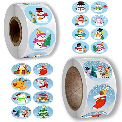 Weihnachts Aufkleber Rolle 1000Pcs Rund Geschenk-Aufkleber, Weihnachtsgeschenke Sticker Etiketten mit Weihnachtsbaum, Weihnachtsmann,Elch Muster fur Geschenktüten Papiertüten (3)