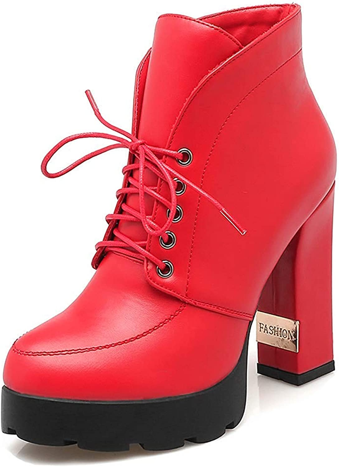 Women's Chunky High Heeled Short Boots - Elegant Dressy Lace Up - Round Toe Platform Ankle Booties