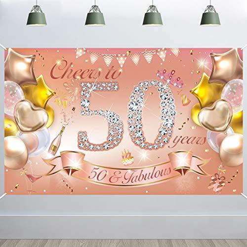 HOWAF Mujer 50 cumpleaños Fiesta decoración Oro Rosa, Pancarta de Tela para 50 cumpleaños Foto telón de Fondo fotografía, 50 cumpleaños al Aire Libre Mesa de jardín decoración de Pared Suministros