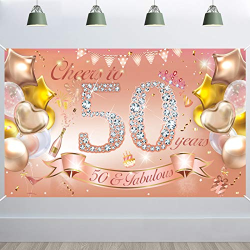 HOWAF Donna 50th Birthday Party Decoration Rose Gold, Banner in Tessuto per 50th Birthday Photo Sfondo Fotografia Background, 50th Birthday Outdoor Garden Table Decorazione da Parete Forniture