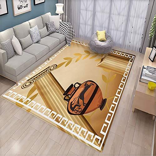 Toga Party Household Floor mat Antique Greek Columns Vase Olive Branch Hellenic Heritage Icons Light Floor mat 5.9'x9.1' Pale Brown Cinnamon White