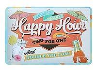 ハッピーアワー メタルポスター壁画ショップ看板ショップ看板表示板金属板ブリキ看板情報防水装飾レストラン日本食料品店カフェ旅行用品誕生日新年クリスマスパーティーギフト