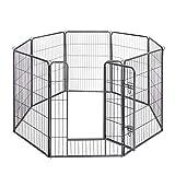 FEANDREA 犬ゲージ 大型犬用 中型犬用 ペットサークル カタチ変更可 扉付き 全成長期使用可 室内外兼用 ペットフェンス パネル8枚 折り畳み式 組立簡単 NPPK81G 高さ100cm