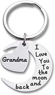 Grandma Grandmother Keychain Gift from Granddaughter Grandson Grandchild -I Love You to The Moon and Back -Wedding Gifts Keychain,Mother Bride Groom for Mother's Day Keyring