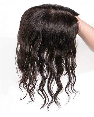 Perruque de Cheveux Humains pour Femmes Curly Crown Topper 3.5 'x 5.5' Perruque en Soie Brace basée sur des Morceaux de Cheveux 10 'Dark Brown Realistic Wig