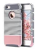 ULAK Caso del iPhone 5S, Caso del iPhone Cubierta Protectora Dura híbrida de la Caja de la PC + TPU de la Capa Dual Apta Delgada para el iPhone 5 / 5S / SE (Rose Stipes + Gray del Oro)